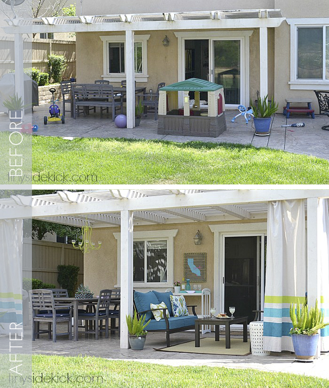 Learn how you can create an outdoor living space in your backyard, on BHG from Tiny Sidekick.