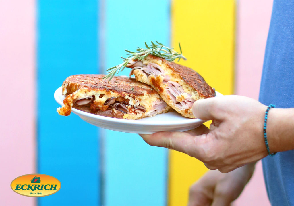 The Ultimate Grilled Cheese and Ham Sandwich with Savory Pickle and Cheese Spread