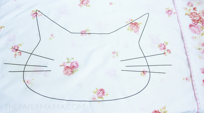 Cat Head Pillowcase DIY