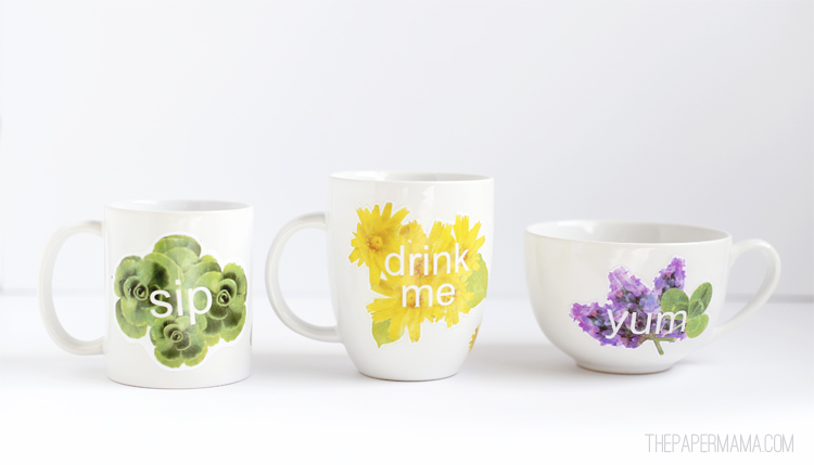 Just add a bag of coffee to this gift and you're all set. Free printables to make these mugs on the Better Homes and Gardens blog.