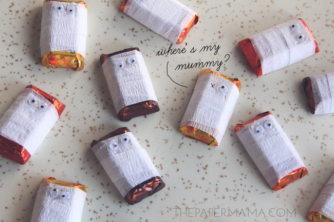 Mummy Candies can be created with some crepe paper and googly eyes, from The Paper Mama.