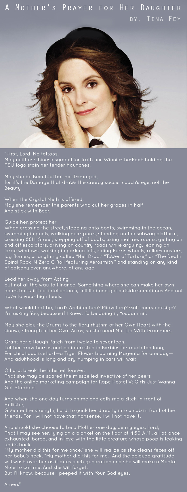 """Tina Fey's """"A Mother's Prayer for Her Daughter"""" // thepapermama.com"""