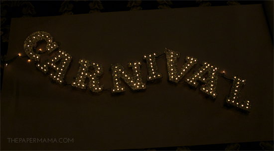 Light-up Glitter Marquee Letters // thepapermama.com