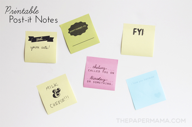 Post It Note Printable Template Thepapermama
