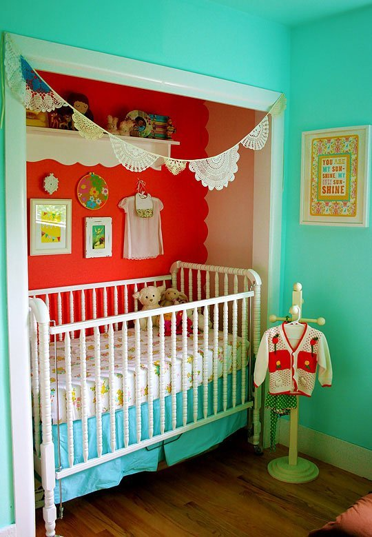 I've been admiring this little crib in a closet space for years now. So lovely, from Apartment Therapy.
