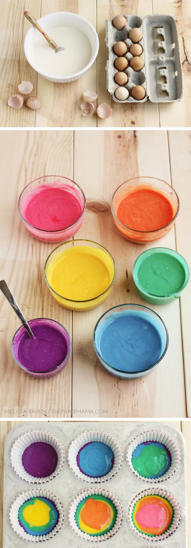 Rainbow Cupcake Recipe and Rainbow Cupcake Topper Printables // Lulu the Baker for thepapermama.com