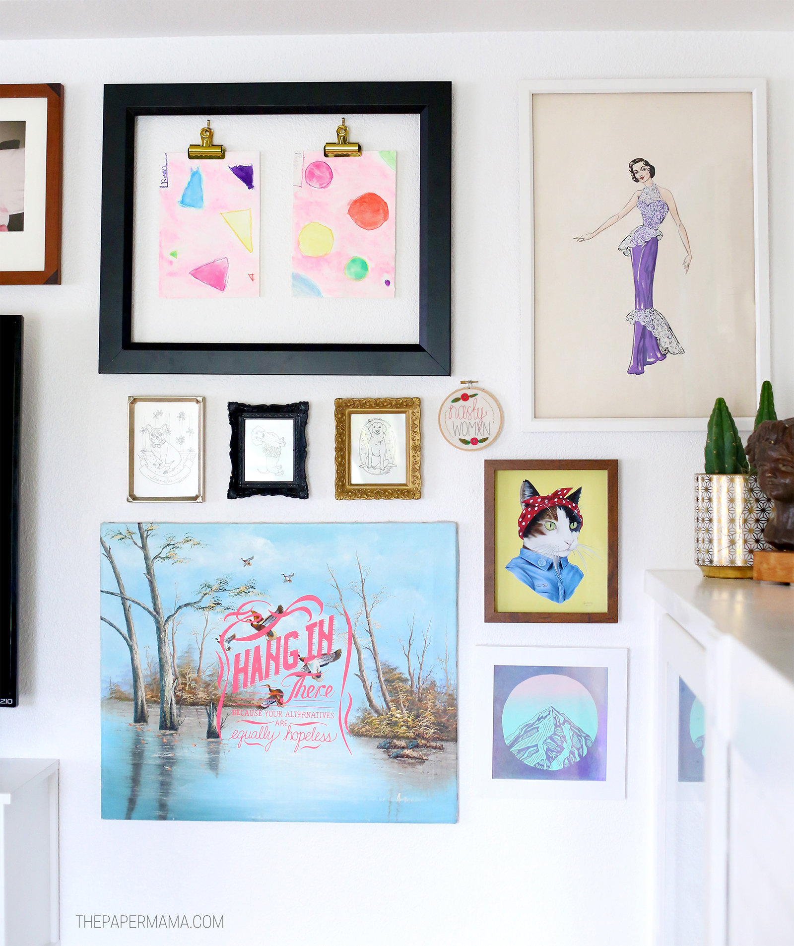 Lovely  Artwork clockwise watercolor paintings by my daughter another stylish lady kitty from Ryan Berkley Mt Hood from Monster Songs hang in there from Sad