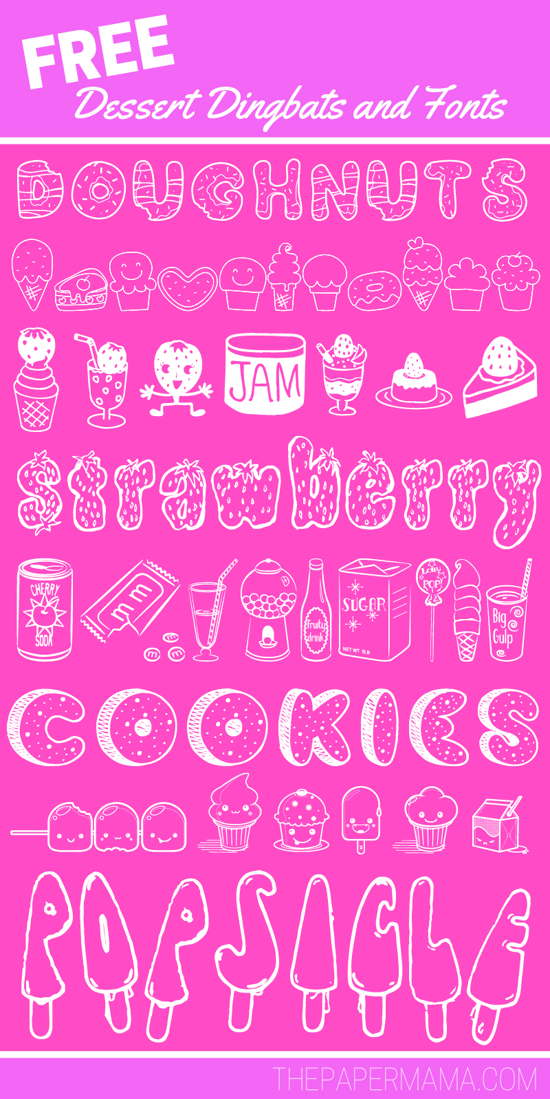 My Favorite Free Dessert Dingbats and Fonts - THEPAPERMAMA.COM