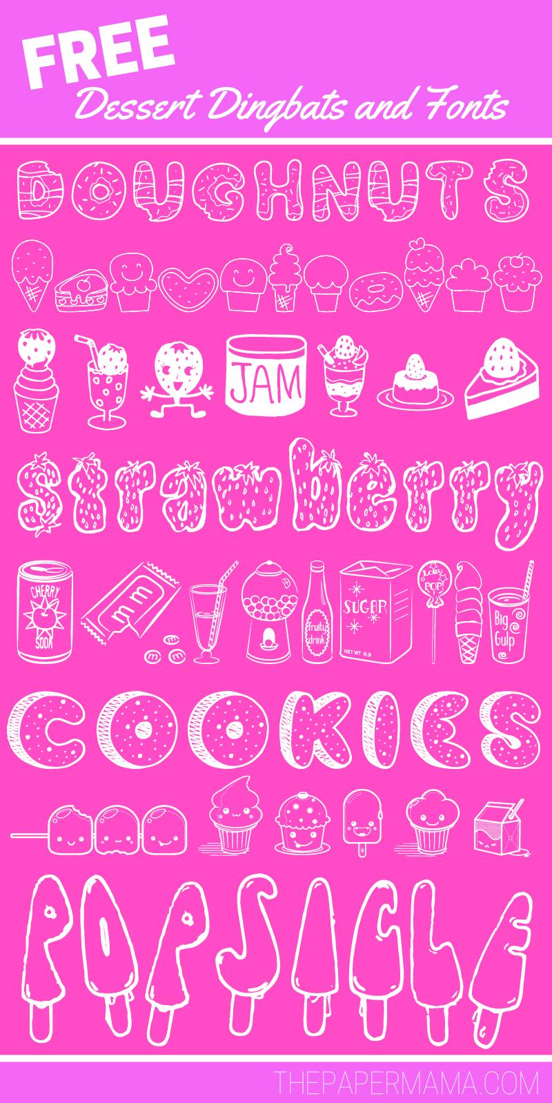 My Favorite Free Dessert Dingbats and Fonts - THEPAPERMAMA.COM