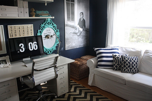 This catchall room was turned into the perfect office, on Design Sponge.