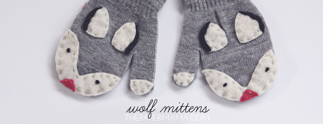 Day 10 of 50 DIY Days of Christmas: Wolf Mittens // thepapermama.com