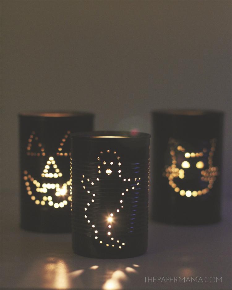 Spooky tin can lantern diy for Diy lantern lights