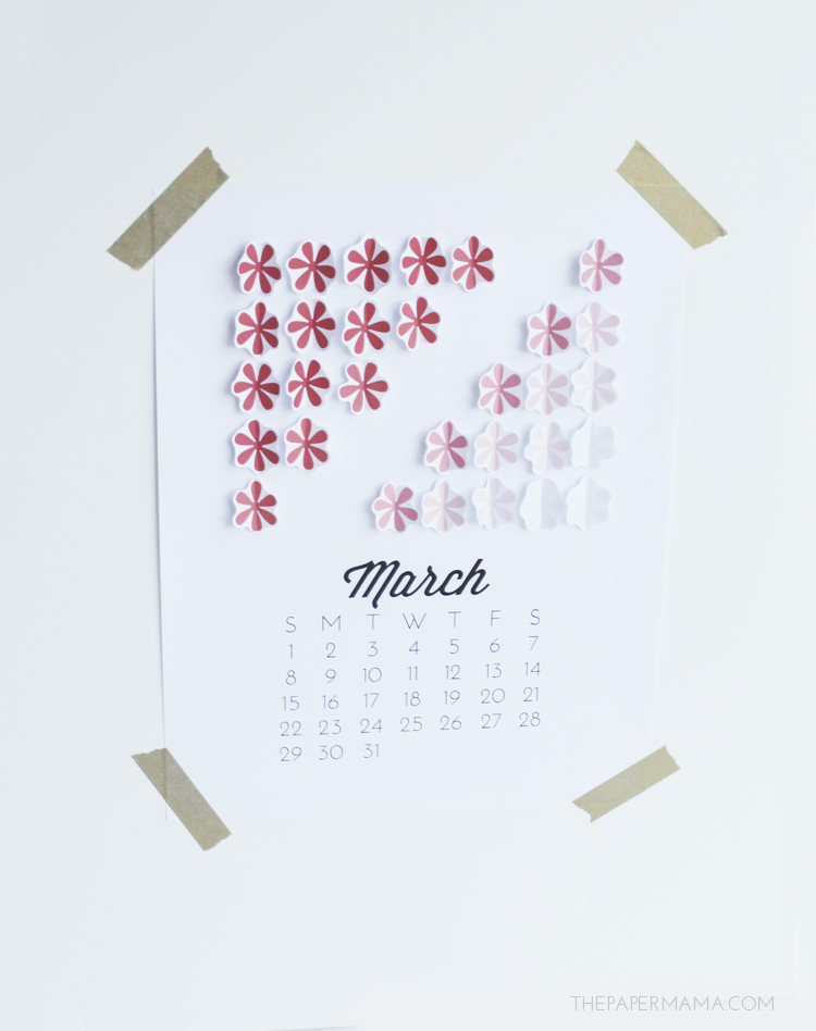 3D Ombre Floral March and April Calendar Page