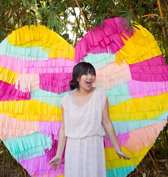 I'm loving this fringe heart backdrop, from Oh Joy.