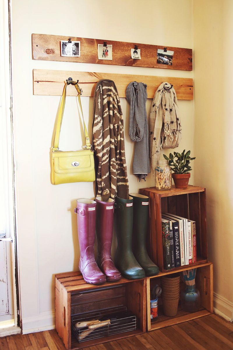 Use old wooden crates to create shoe storage in your entry, on A Beautiful Mess.