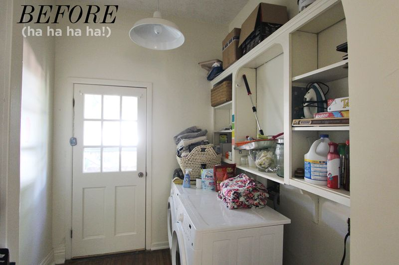 If your laundry room is in a space that's pretty visible to the rest of the home, then make it pretty! This lovely little laundry room is colorful and nice to look at. Check it out on the A Beautiful Mess Blog.