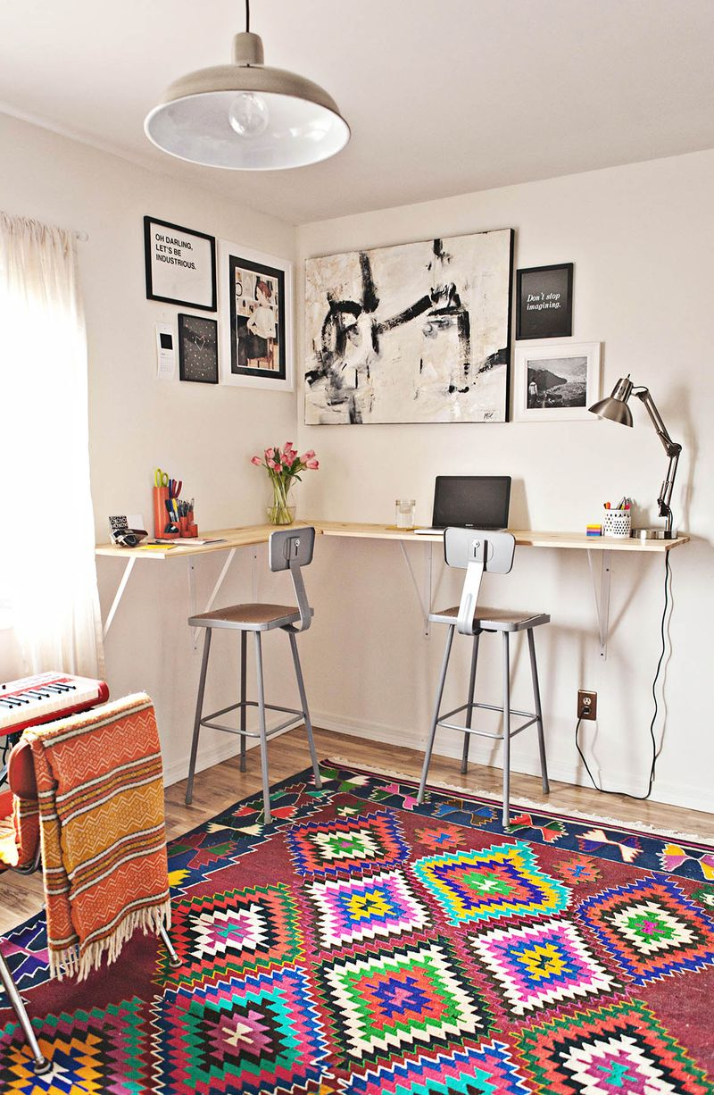 If you're really short on space, this wall mounted desk could be for you, from A Beautiful Mess.