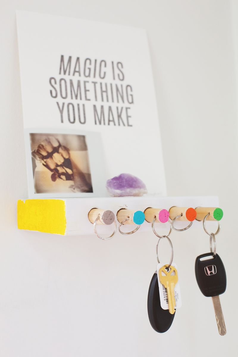 I love this simple and colorful key organizer, from A Beautiful Mess.