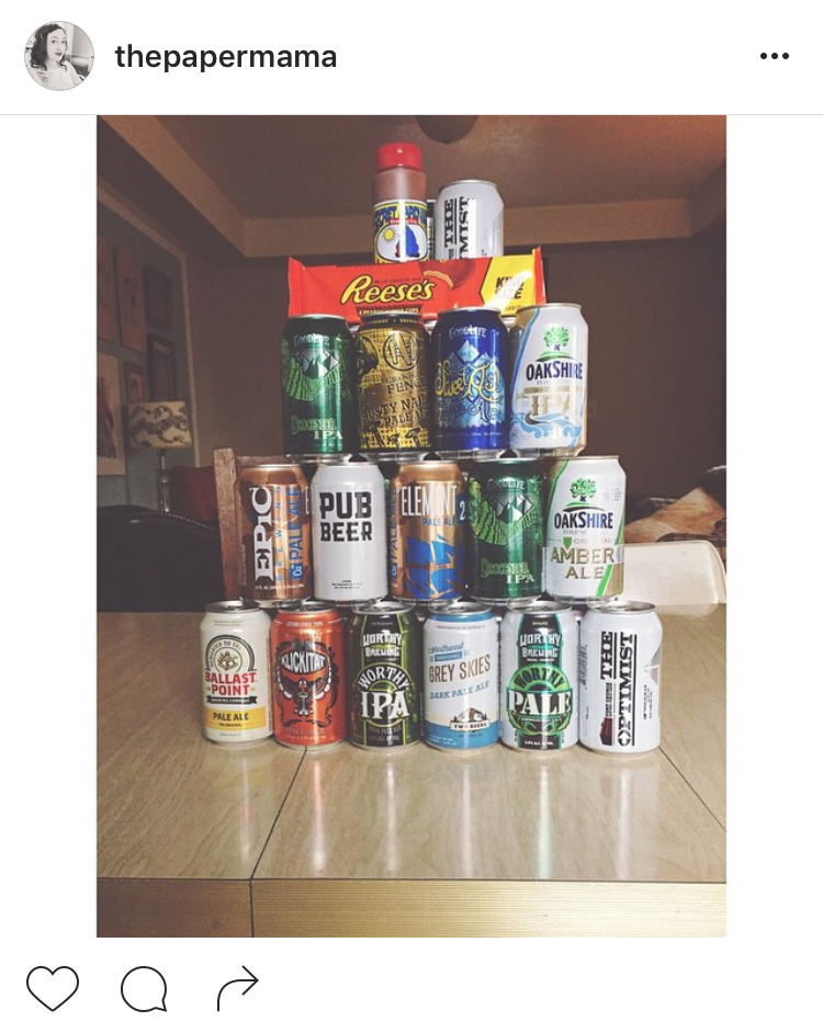 Tower of beer Father's Day gift idea.