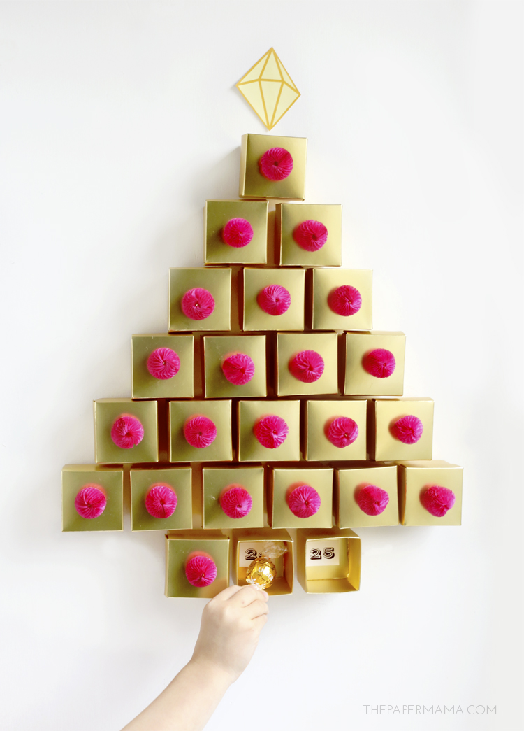 You can create this cute Golden Tree Advent Calendar that I shared the other day, from The Paper Mama.