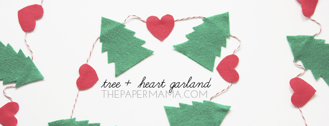 Day 13 of 50 DIY Days of Christmas: Tree Plus Heart Garland // thepapermama.com