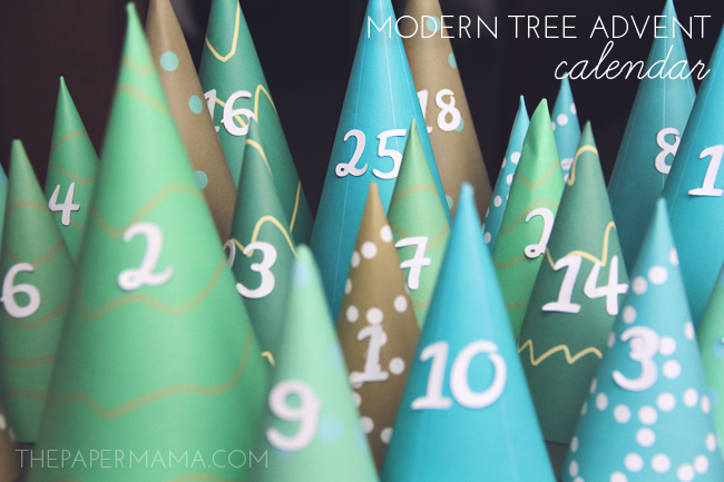 Create a little paper tree forest with my printable Modern Tree Advent calendar, from The Paper Mama.