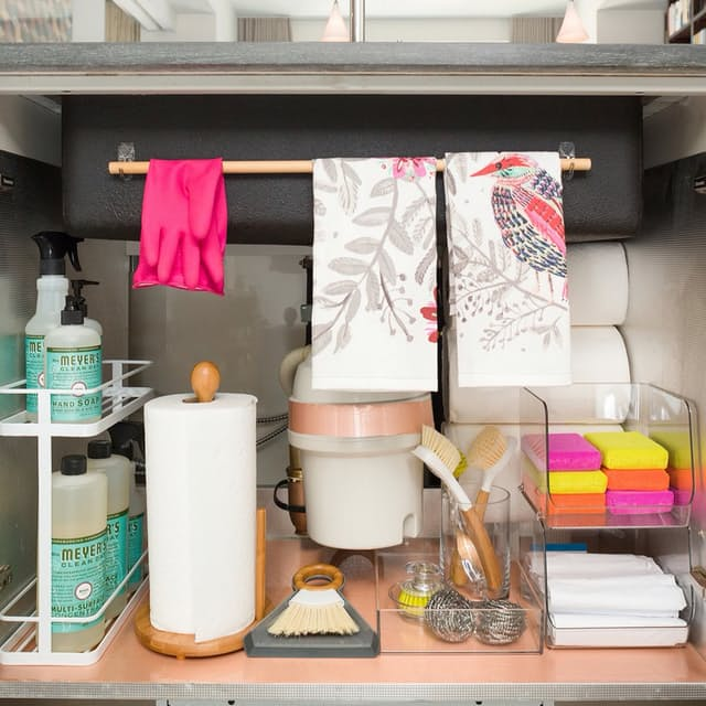There is some unused space under that sink! Organize it with these ideas on the Mrs. Meyers blog.