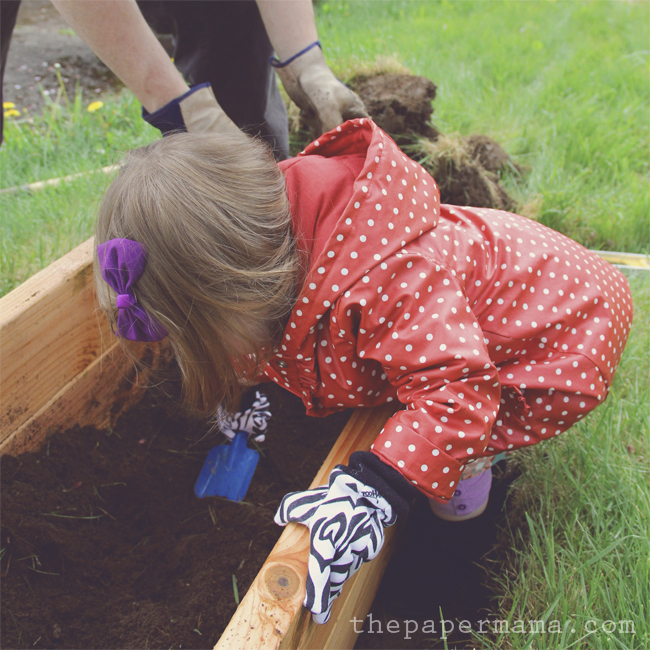 Make a special space in the garden that is just for your kid. Four years ago I made this small raised garden bed for my daughter (she's so small in the photos) and she still loves it! It's strictly a strawberry garden now, but it's hers to take care of and she loves to show visitors her garden. Check out how we made this on the BHG Style Spotters Blog.