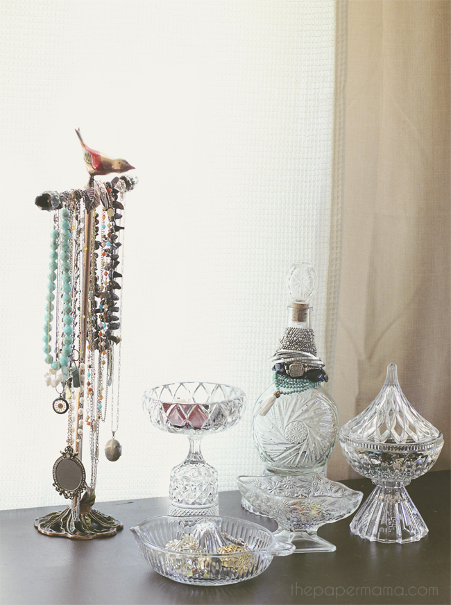 Displaying your jewelry on vintage jars. Check it out on the Better Homes and Gardens blog.