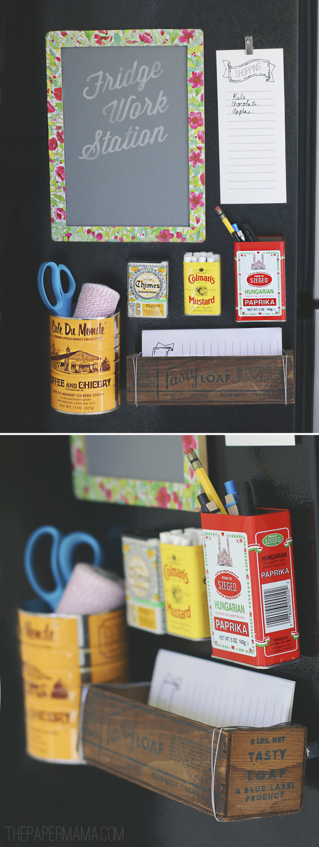 Set up a work station on the side of your refrigerator to keep your notes and pens in one spot. I made this work station using old tins and containers. From the Better Homes and Gardens blog.