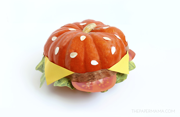 No Carve Cheeseburger Pumpkin (with free printables)
