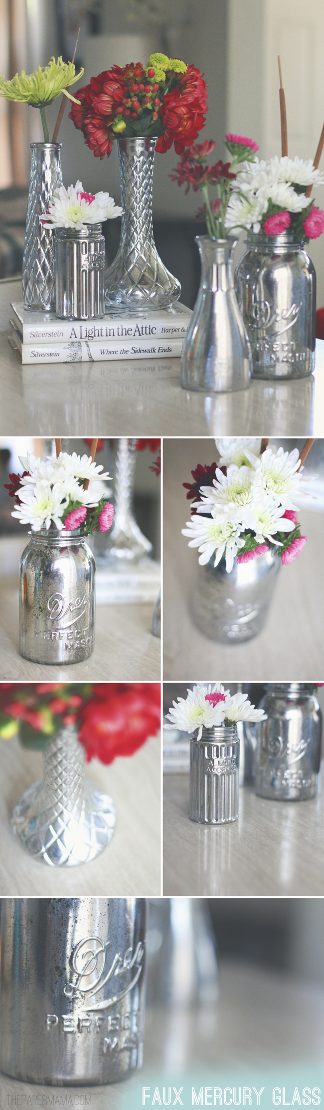 Faux Mercury Glass Vases DIY