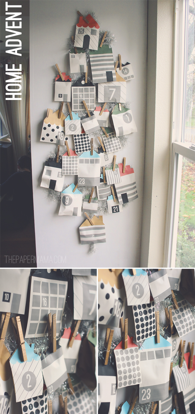 Print out all these cute little homes to create this advent calendar, from The Paper Mama.