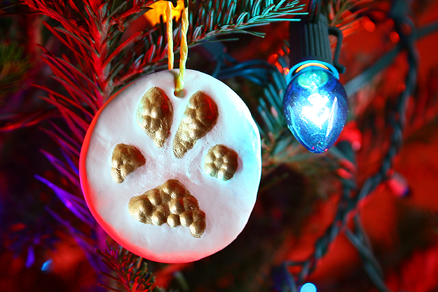 Create a paw print ornament from your furry friend's foot, from Caught on a Whim.