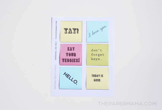 Playful image for printable post it notes
