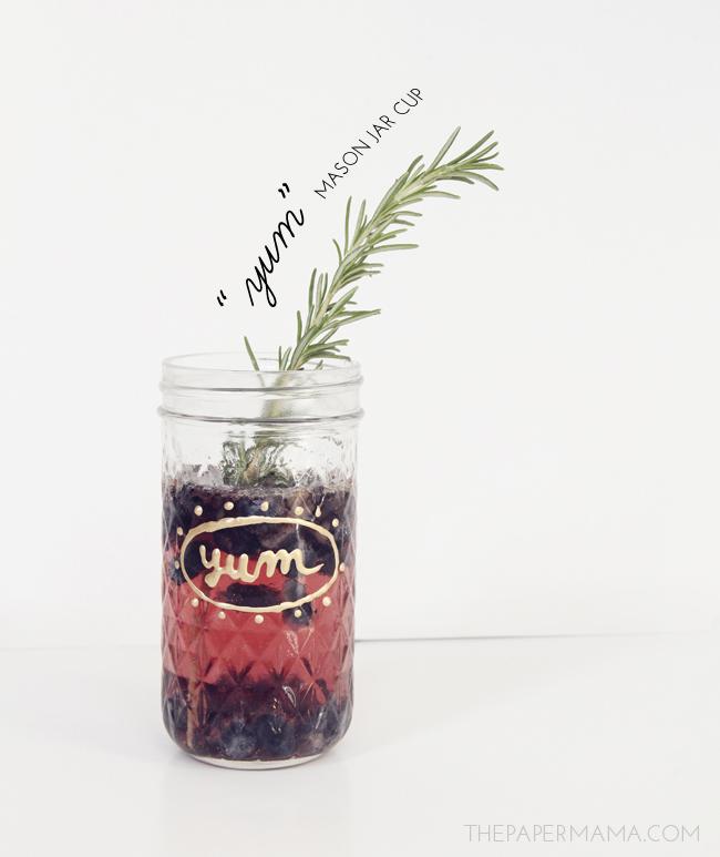 """yum"" mason jar cup // thepapermama.com"