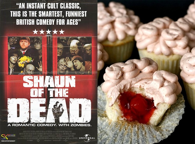 Enjoy the funny Shaun of the Dead while snacking on Brain Cupcakes (on Annie's Eats).