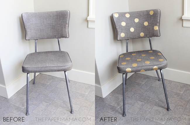http://thepapermama.com/2013/07/gold-polka-dot-chair/
