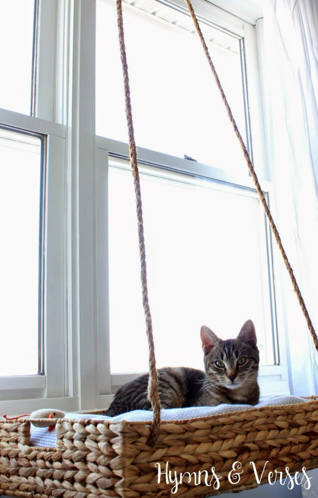 It's almost impossible to keep my cats off of any tables or windowsills, so why not give them a special spot by the window? Check out this DIY cat window perch on Hymns and Verses.