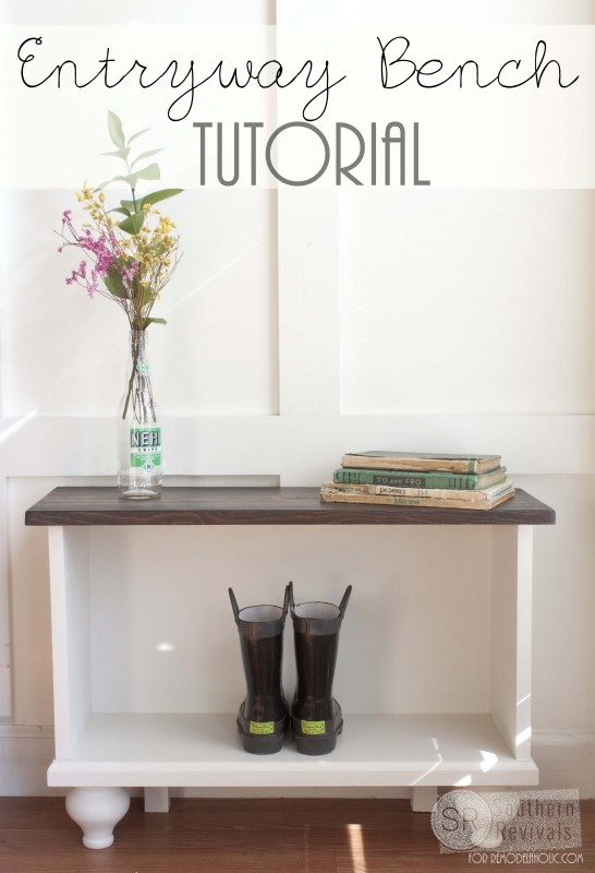 Create a shoe storage bench to sit under the coat hooks, from Remodelaholic.