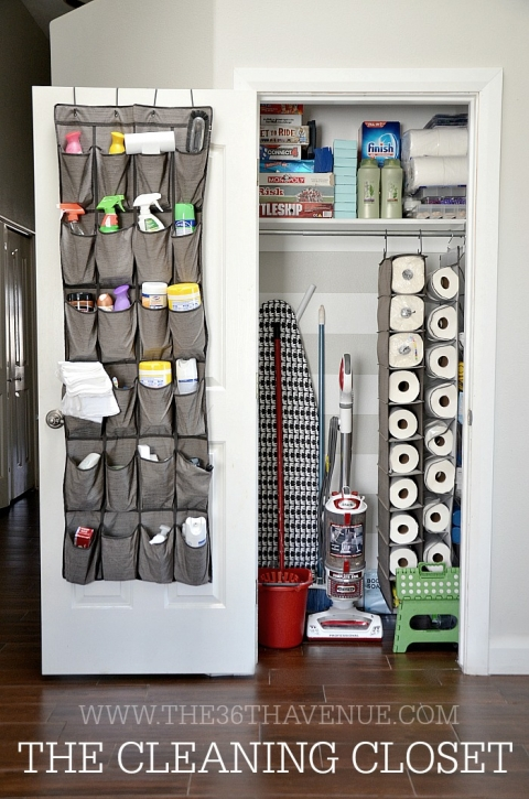 After you've cleaned up your coat closet, get to organizing the cleaning supplies! Cleaning your home will be so much easier if you know exactly where everything is. I have to say this cleaning closet is BEAUTIFULLY organized. I love it. Found on 36th Avenue.
