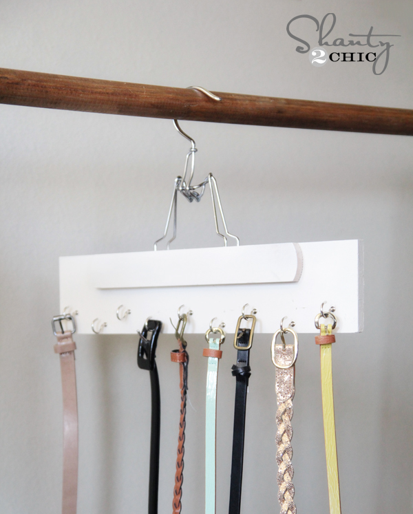 Turn a hanger into a belt organizer! How do you organize your belts? Mine are currently stacked onto the hook of a hanger. It's messy and takes up more space than I want. This belt hanger DIY is a great idea, from Shanty 2 Chic.