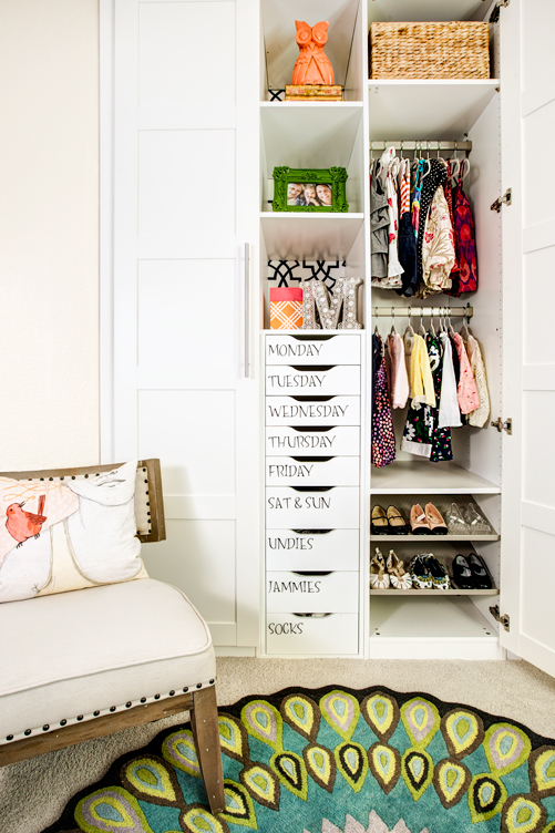 Maximize your closet space by installing cubbies and drawers, from Project Nursery.