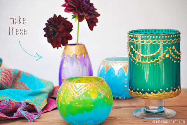 Moroccan candle holder DIY, from Creme De La Craft.