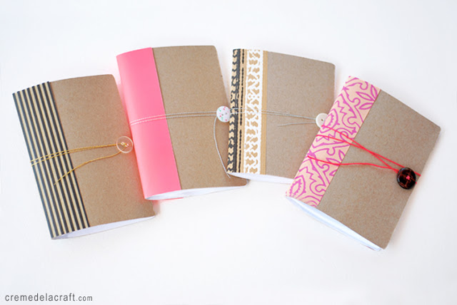 Mini Notebooks Made from Cereal Boxes, Creme de la Craft.