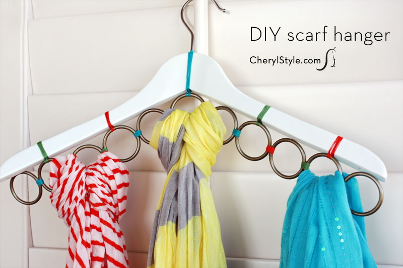 With some shower curtain rings and a hanger you can create the perfect scarf organizer. Found on Everyday Dishes.