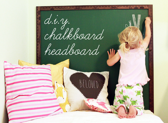 This sweet chalkboard headboard would be so fun in a kid's room. Found on Sparkle Power.
