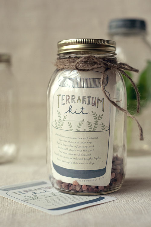 Another great DIY gift for the gardener: A DIY Terrarium Kit (with printable label), on Wit and Whistle.