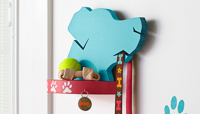 Make this cute little leash holder wall mount to keep your walking supplies ready to go right by the door. Found on the Lowes Blog.