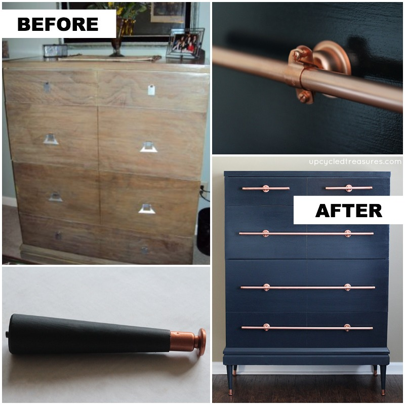 You can also craft some drawer pulls out of copper pipes! Check out this amazing dresser transformation on Mountain Modern Life.